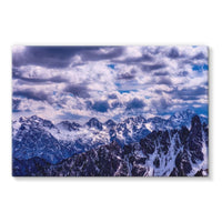 Mountain With Cloudy Sky Stretched Canvas 36X24 Wall Decor