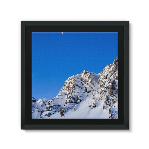 Mountain With Snow View Framed Canvas 12X12 Wall Decor