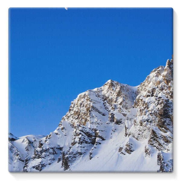 Mountain With Snow View Stretched Canvas 10X10 Wall Decor