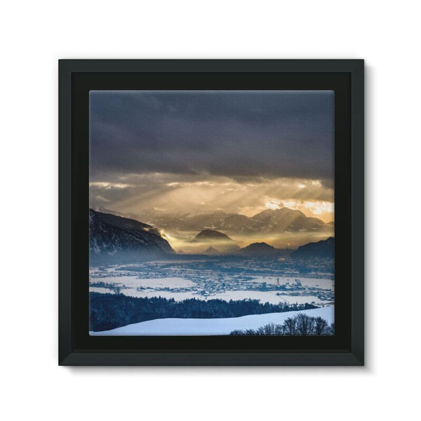 Mountains Covered With Ice Framed Eco-Canvas 10X10 Wall Decor