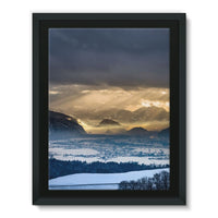 Mountains Covered With Ice Framed Eco-Canvas 18X24 Wall Decor
