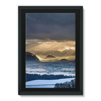 Mountains Covered With Ice Framed Eco-Canvas 24X36 Wall Decor