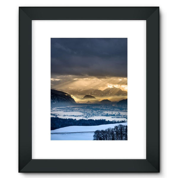 Mountains Covered With Ice Framed Fine Art Print 12X16 / Black Wall Decor