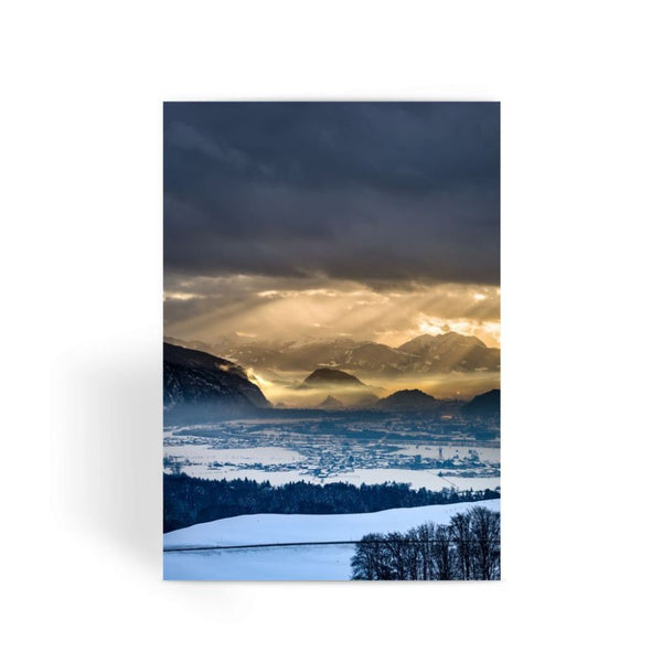 Mountains Covered With Ice Greeting Card 1 Prints