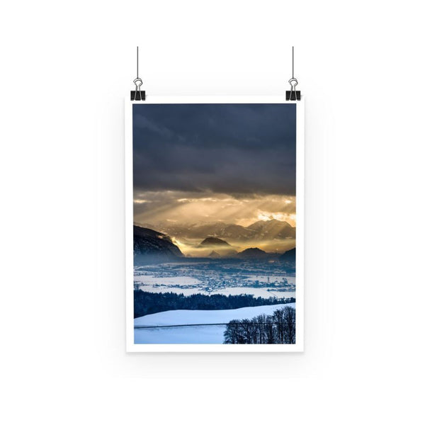 Mountains Covered With Ice Poster A3 Wall Decor