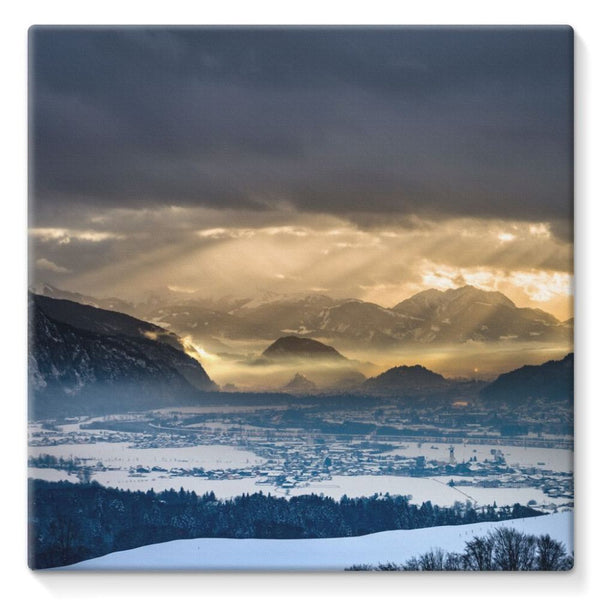 Mountains Covered With Ice Stretched Eco-Canvas 10X10 Wall Decor