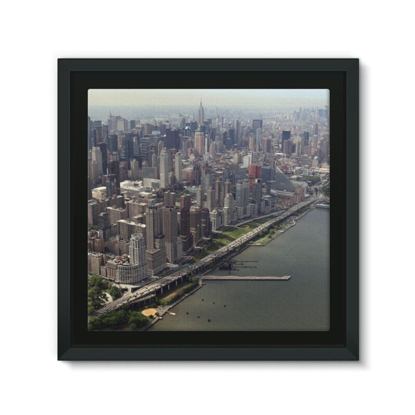 New York City Near The River Framed Canvas 12X12 Wall Decor