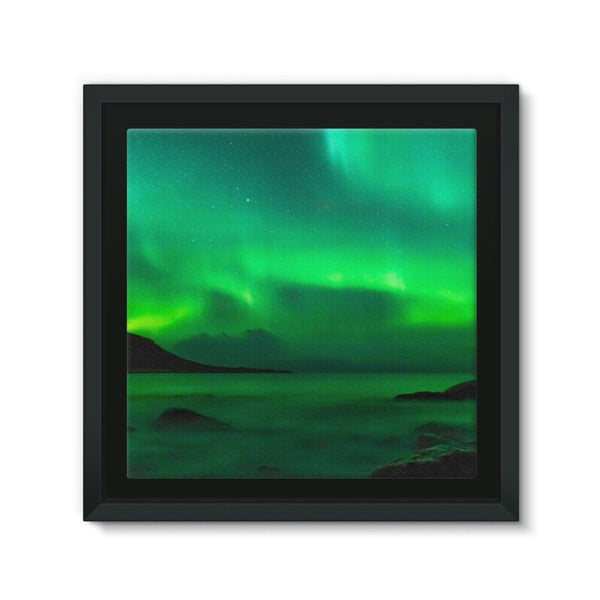 Northern Lights In Iceland Framed Eco-Canvas 10X10 Wall Decor