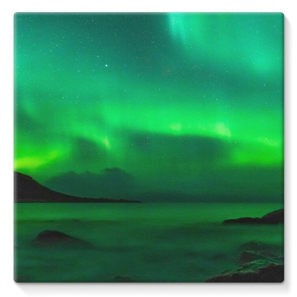 Northern Lights In Iceland Stretched Canvas 10X10 Wall Decor