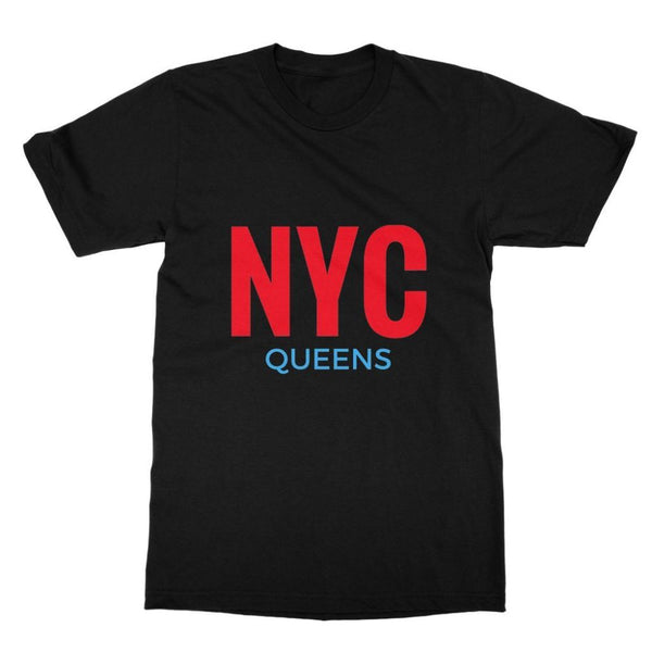 Nyc Queens Softstyle Ringspun T-Shirt S / Black Apparel