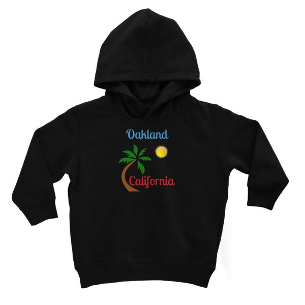 Oakland California Palm Sun Kids Hoodie 3-4 Years / Jet Black Apparel