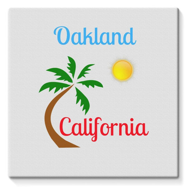 Oakland California Palm Sun Stretched Canvas 10X10 Wall Decor