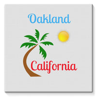 Oakland California Palm Sun Stretched Canvas 14X14 Wall Decor