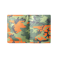 Orange Green Camo Camouflage Army Pattern Mens Leather Wallet (1612)