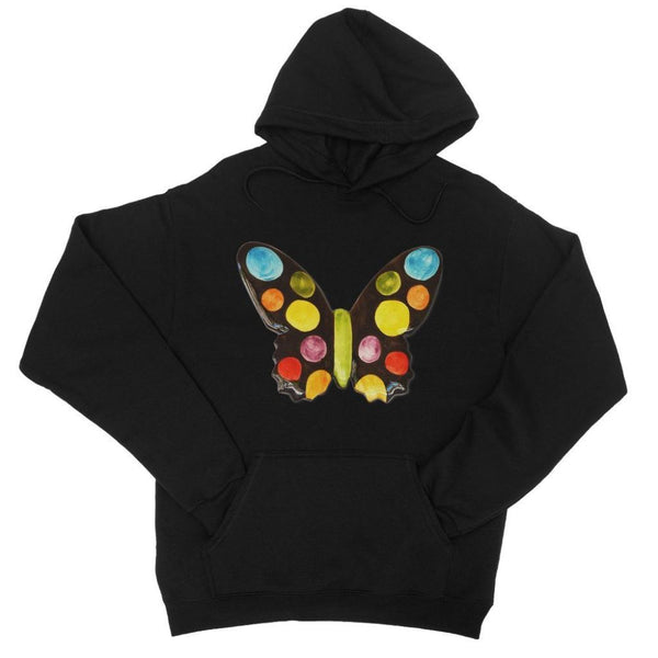 Painted Butterfly College Hoodie Xs / Black Apparel