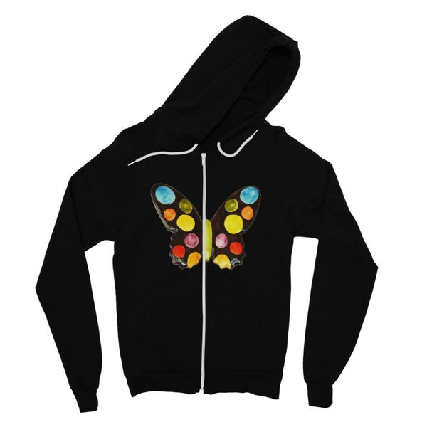 Painted Butterfly Fine Jersey Zip Hoodie S / Black Apparel