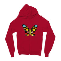 Painted Butterfly Kids Zip Hoodie 3-4 Years / Fire Red Apparel