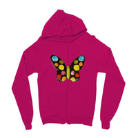 Painted Butterfly Kids Zip Hoodie 3-4 Years / Hot Pink Apparel