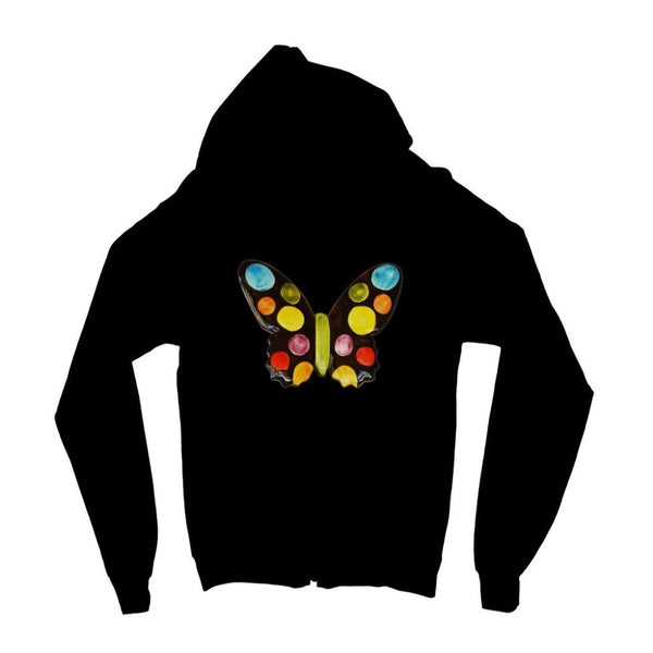 Painted Butterfly Kids Zip Hoodie 3-4 Years / Jet Black Apparel