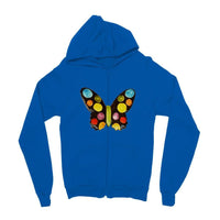 Painted Butterfly Kids Zip Hoodie 3-4 Years / Sapphire Blue Apparel