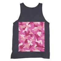 Pink Camo Pattern Fine Jersey Tank Top S / Navy Apparel