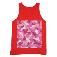 Pink Camo Pattern Fine Jersey Tank Top S / Red Apparel
