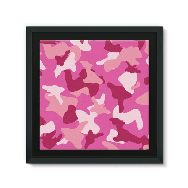 Pink Camo Pattern Framed Canvas 12X12 Wall Decor