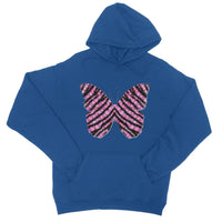 Pink Crystals Butterfly College Hoodie Xs / Royal Blue Apparel