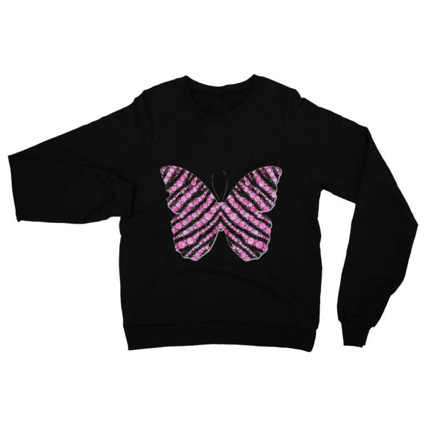 Pink Crystals Butterfly Heavy Blend Crew Neck Sweatshirt S / Black Apparel