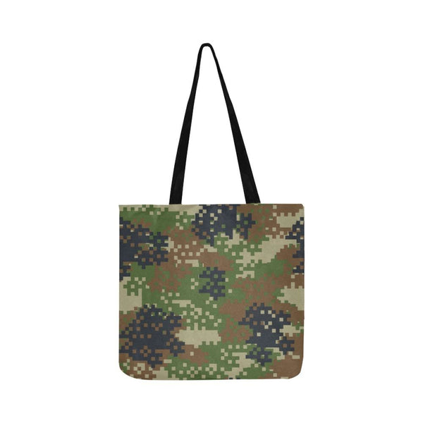 Pixel Green Brown Woodland Camo Camouflage Army Pattern Reusable Tote Shopping Bag (Two Sides) (1660)