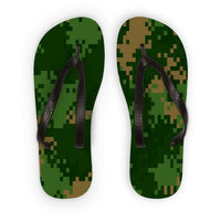 Pixel Woodland Camo Pattern Flip Flops S Accessories