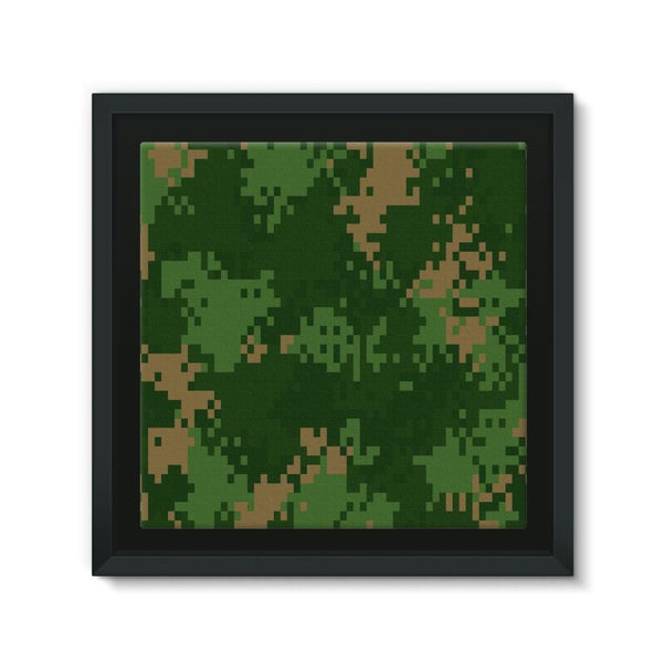 Pixel Woodland Camo Pattern Framed Canvas 12X12 Wall Decor