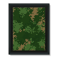 Pixel Woodland Camo Pattern Framed Canvas 12X16 Wall Decor