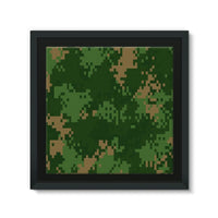 Pixel Woodland Camo Pattern Framed Canvas 14X14 Wall Decor