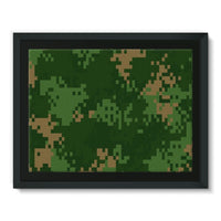 Pixel Woodland Camo Pattern Framed Canvas 16X12 Wall Decor