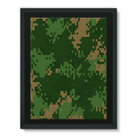 Pixel Woodland Camo Pattern Framed Canvas 18X24 Wall Decor