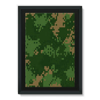Pixel Woodland Camo Pattern Framed Canvas 20X30 Wall Decor