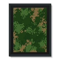 Pixel Woodland Camo Pattern Framed Canvas 24X32 Wall Decor