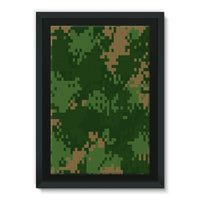 Pixel Woodland Camo Pattern Framed Canvas 24X36 Wall Decor