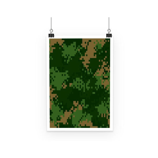 Pixel Woodland Camo Pattern Poster A3 Wall Decor