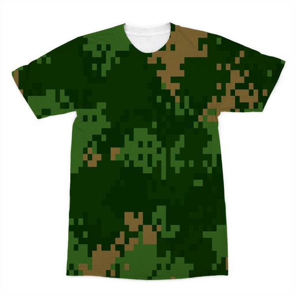 Pixel Woodland Camo Pattern Sublimation T-Shirt Xs Apparel
