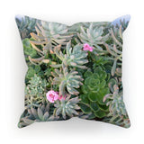 Plant With Pink Flowers Cushion Canvas / 12X12 Homeware