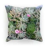 Plant With Pink Flowers Cushion Faux Suede / 18X18 Homeware