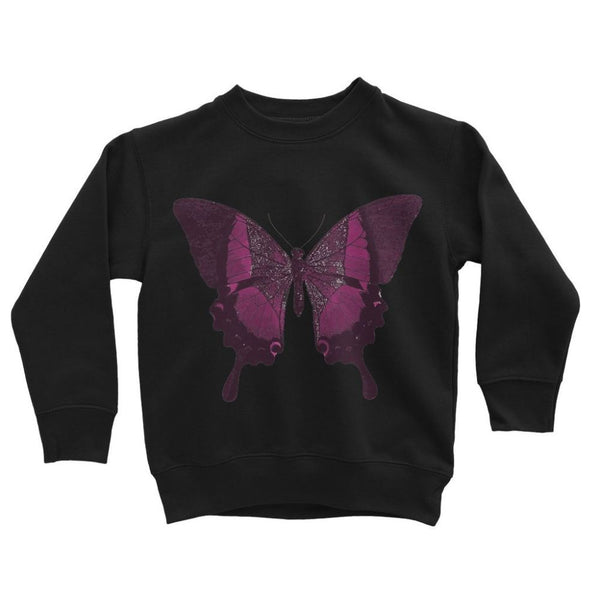 Purple Fantasy Butterfly Kids Sweatshirt 3-4 Years / Jet Black Apparel