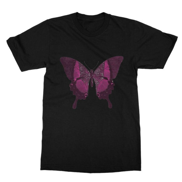 Purple Fantasy Butterfly Softstyle Ringspun T-Shirt S / Black Apparel