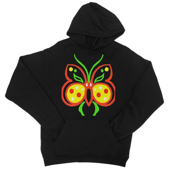 Rasta Butterfly College Hoodie Xs / Black Apparel