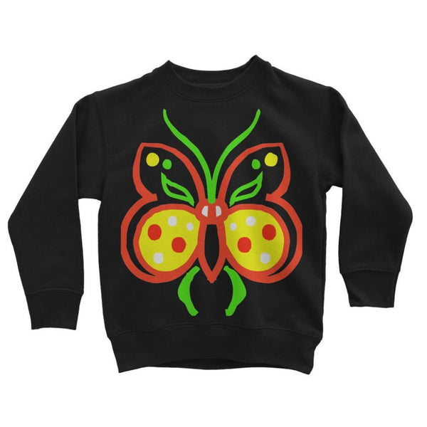 Rasta Butterfly Kids Sweatshirt 3-4 Years / Jet Black Apparel