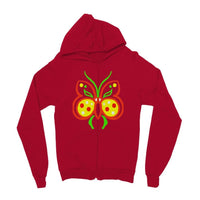 Rasta Butterfly Kids Zip Hoodie 3-4 Years / Fire Red Apparel