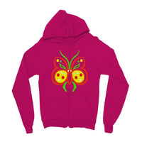 Rasta Butterfly Kids Zip Hoodie 3-4 Years / Hot Pink Apparel