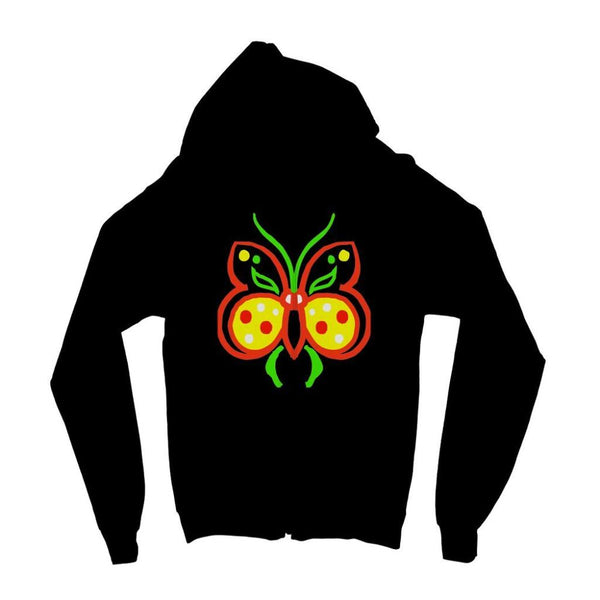 Rasta Butterfly Kids Zip Hoodie 3-4 Years / Jet Black Apparel